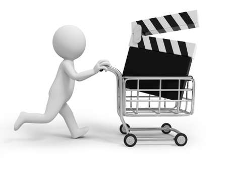 buy icon: A 3d person  a slate in the shopping cart Stock Photo