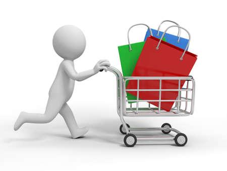 mujer en el supermercado: Una persona 3d algunas bolsas de regalo en el carrito de compras