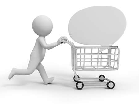 supermarket cart: A 3d person a message board in the shopping cart Stock Photo