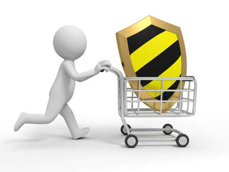 A 3d person a shield in the shopping cart Stock Photo - 19254746