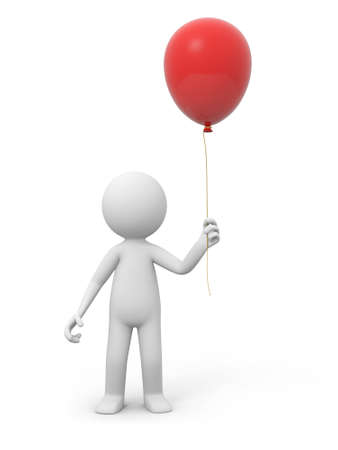A 3d person holding a red balloon photo