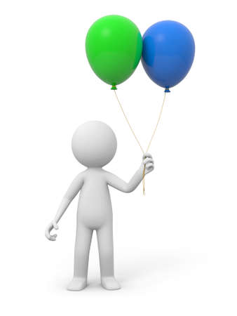 A 3d white person holding two balloons photo