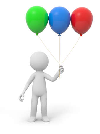 A 3d white person holding three balloons photo