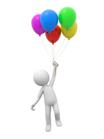 A 3d person jumping to hold five balloons photo