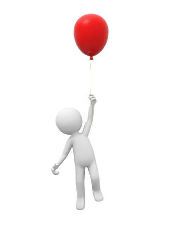 A 3d person jumping to hold the balloon photo