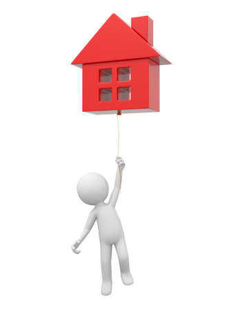 3d ball: A 3d person holding a house model