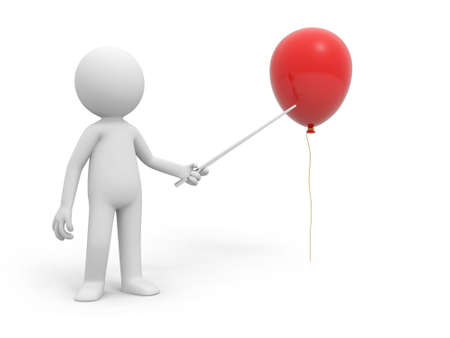 A 3d person pointing a red balloon photo