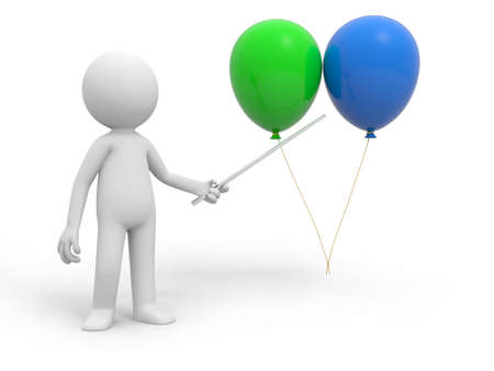 A 3d person pointing two balloons with a stick photo