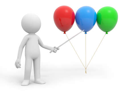 A 3d person pointing three  balloons with a stick photo