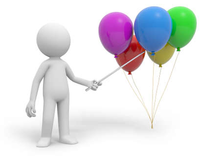 A 3d person pointing five balloons with a stick photo