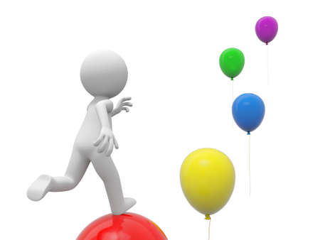 A 3d person running along the balloons photo