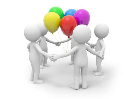 Five 3d people standing, five balloons in them photo