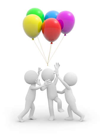 Three 3d people snatching the balloons over their heads photo