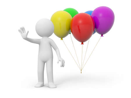 A 3d person stopping the people, the balloons background photo