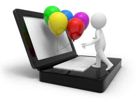 A 3d person standing on the computer, the balloons in front of him photo