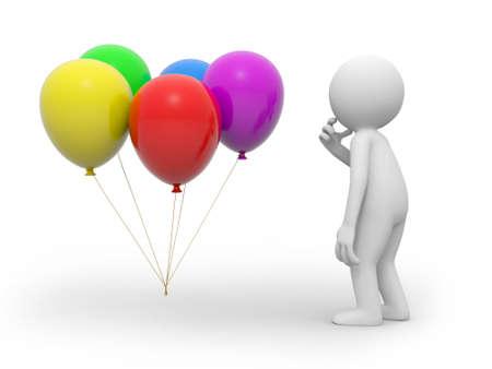 A 3d person thinking face to the balloons photo