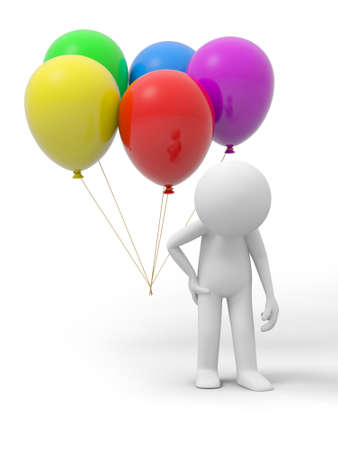A 3d person lowering his head, the balloons background photo