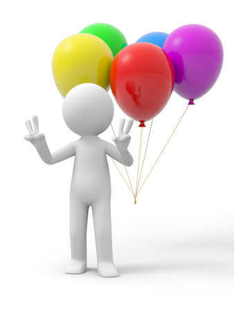 "man flying: A 3d person making a ""V""hand gestures, the balloons background"