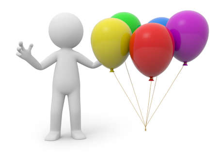 A 3d person standing at five balloons photo