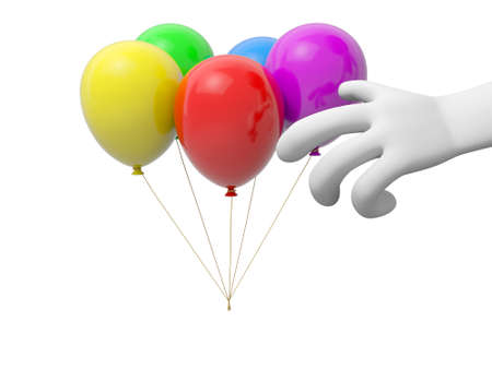 A 3d hand  five balloons background red yellow green blue purple photo