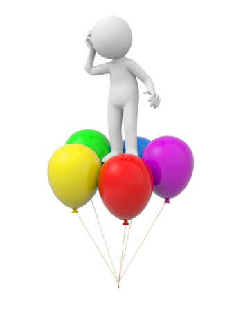 A 3d person standing on the balloons, thinking photo