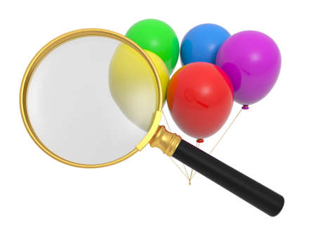 A magnifying glass   balloons red yellow green blue purple photo