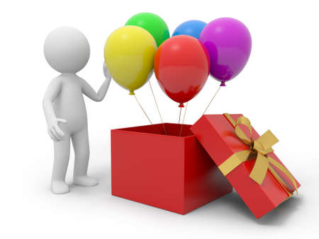 A 3d person taking the balloons from a gift box Stock Photo - 20886967