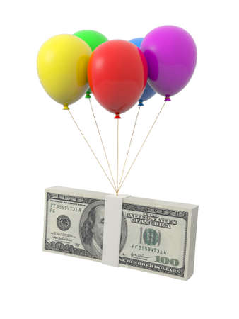 euro sign: A bundle of money being tied by the rope of the balloons Stock Photo