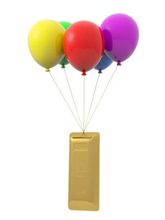 goldbars: A gold bars being tied by the rope of the balloons