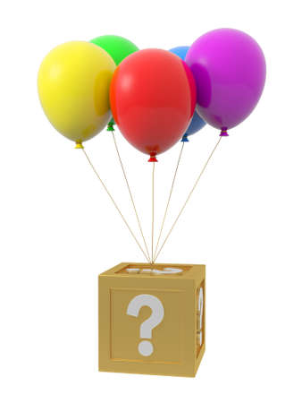A question box being tied by the rope of the balloons photo