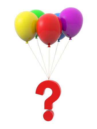 probable: A question mark being tied by the rope of the balloons