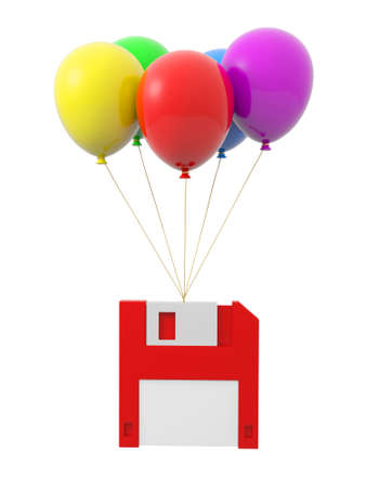 A memory card being tied by the rope of the balloons photo