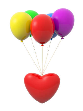 paramour: A red heart being tied by the rope of the balloons Stock Photo