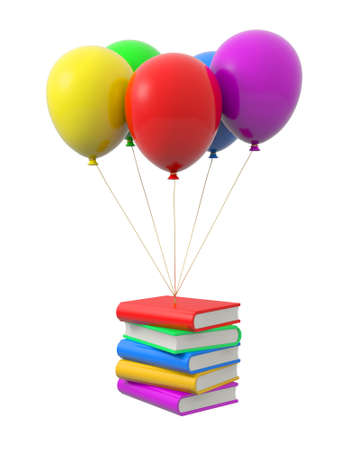 magazine stack: A few books being tied by the rope of the balloons