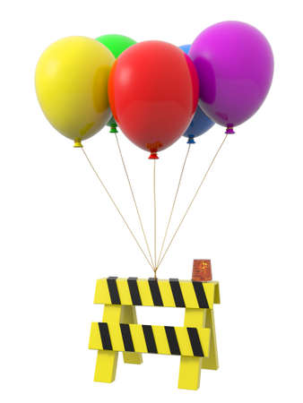 A  roadblocks being tied by the rope of the balloons Stock Photo - 20887017