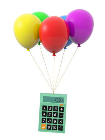 a calculator being tied by the rope of the balloons stock photo