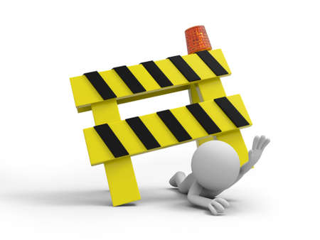 A 3d person pressed by the roadblocks Stock Photo