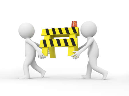 road block: Two 3d people carrying the roadblocks