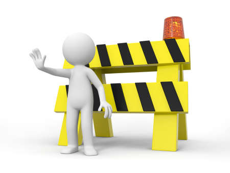 """road closed: A 3d people making a """"stop""""signal , a roadblocks background Stock Photo"""