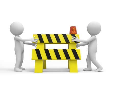Two 3d people carrying the roadblocks red yellow black photo
