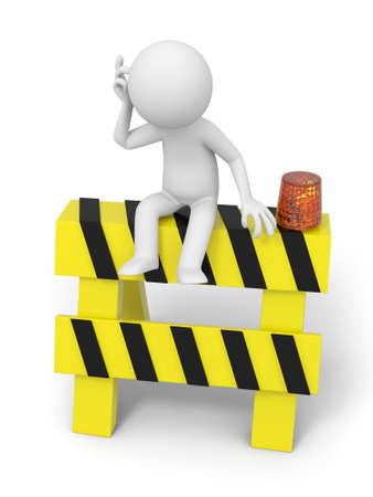 road block: A 3d people sitting on the roadblocks, thinking Stock Photo