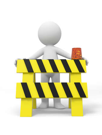 traffic barricade: A 3d people standing behind the roadblocks Stock Photo