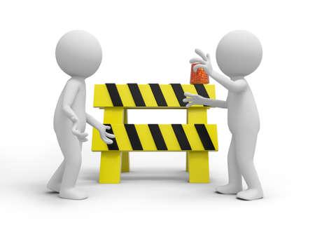worker cartoon: Two 3d people talking, a roadblocks background