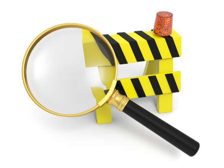 A magnifying glass and a roadblocks magnify photo