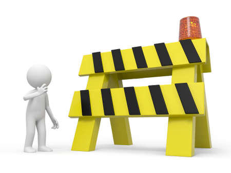 delay: A 3d people thinking a roadblocks background Stock Photo