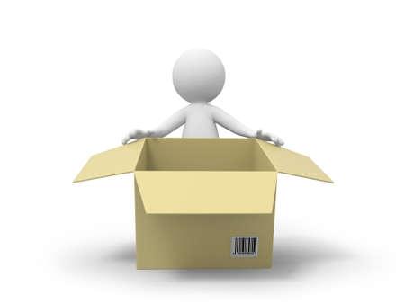 lidé: 3D lidé stojící za balení krabice