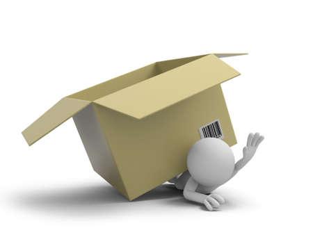 A 3d personnes pressées par une boîte d'emballage Banque d'images - 21127057
