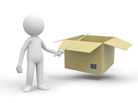 merchandise: A 3d people pointing at a package box with a stick