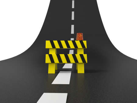 roadwork: A roadblocks on the highway  road  stop Stock Photo