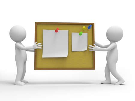 Two 3d people talking , the notes board background photo